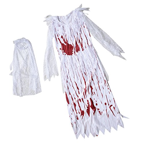 Homyl Spitze Blutige Braut Kostüm Horror Kostüm Cosplay Kostüm für Halloween Karneval und Hen...