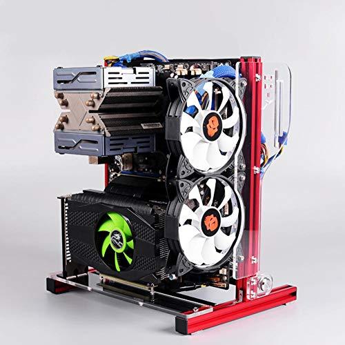 Bewinner Offenes PC-Gehäuse, ATX/M-ATX/ITX-Gehäuse mit offenem Gehäuse für vertikale Übertaktungstests, DIY-Gehäuse mit offenem Rack und Griff, 20x20-Aluminiumprofil(rot)