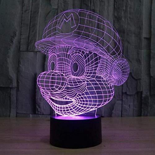 3D Lampes Décoratif LED Illusions Optiques 7 Couleurs Changement Tactile Interrupteur Néon Lumière De Nuit pour Lampe Enfants Table Chambre Bar Fête d'anniversaire Salon Décoration Noël - Super Mario