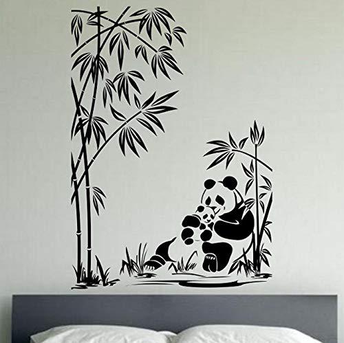 floolter Mutter und Sohn Panda Vinyl Wandtattoo Kunst Dekor Schlafzimmer Wohnzimmer Home Design Wandbilder Bambus Pflanze Wandaufkleber 57x84 (Panda-bambus-pflanze)