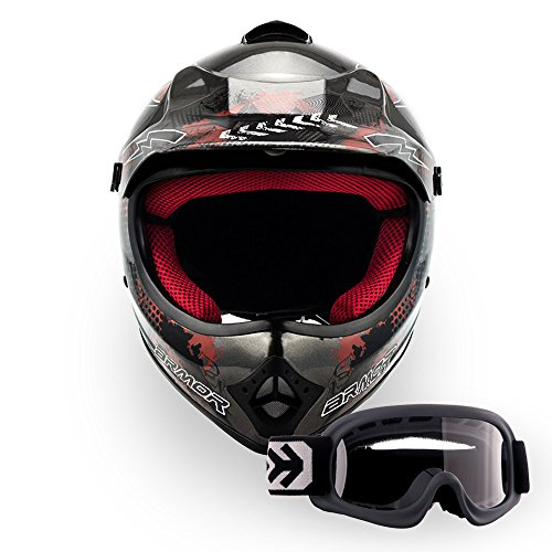 Armor · AKC-49 Set 'Titan' (silver) · Casco Moto-Cross · Off-Road Racing Scooter Motocicletta Bambino Quad · DOT certificato · Click-n-SecureTM Clip · Borsa per il trasporto · S (53-54cm)