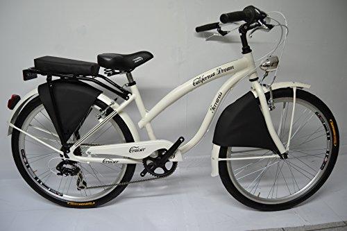Bicicletta Cruiser Custom Chopper 26 Alluminio 6v Bianca Nera Totalmente Personalizzabile