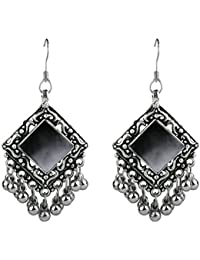 Geode Delight German Silver Afghani Dangler Hook Chandbali Earrings Mirrors For Girls And Women