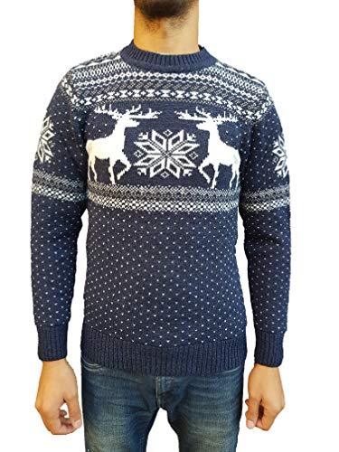 Raff Taff Herren Strickpullover Sweater Hoodie Wollpullover   M - 5XL    Norweger Island Pullover Weihnachten Winter (Dunkelblau Hirsch, 56) 84cc178f80