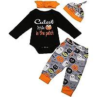 Ropa Bebe niña Talla 8,(6-24M) Halloween Baby Carta de Manga Larga Impreso Lace + Pants + Hat + Hair Strap Set de Cuatro Piezas,Negro,70,80,90,100