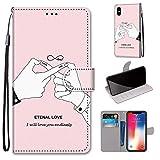 Miagon Flip PU Leder Schutzhülle für iPhone XS/X,Bunt Muster Hülle Brieftasche Case Cover Ständer mit Kartenfächer Trageschlaufe,Finger Liebe -