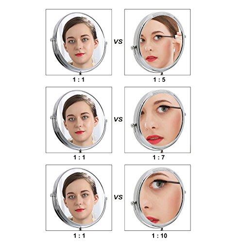 Songmics Kosmetikspiegel 10fach+Nomal Doppelseitiger Schminkspiegel BBM001 - 5