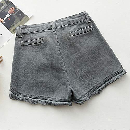 DAIDAICDK Sommer Denim Shorts Frauen Jeans Beute Shorts Damen Weiß Rosa Grau Blau Denim (Beute-shorts Für Frauen)