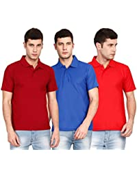 Ojass Solid Men's Polo Neck Maroon, Blue, Red T-Shirt (Pack Of 3)