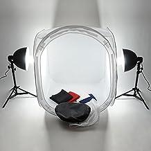 MVpower Estudio de Fotografia Cubo 80x80x80cm Iluminación Fotográfica Caja de luz E27 2 x 135 W Lámpara 5500K Trípode 4PCS Fondos Color Blanco/Negro/Rojo/Azul