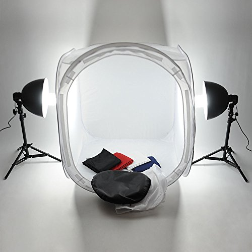 Mvpower Kit Illuminazione Di Luce Continua Per Studio Fotografico 80 x 80 x 80CM Tenda Cubo, 2 Stativi, 2 Lampadina 135W A Risparmio Energetico, 4 x Sfondo Colorato Nero, Bianco, Blu E Rosso