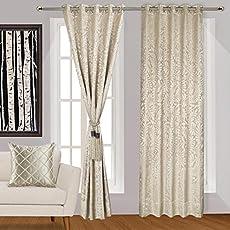 Urban Hues Eyelet Beige Polyester Jacquard Fabric Window/Door Curtains-7ft