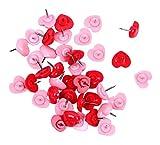 Pines creativos del empuje/pequeños pernos de dibujo encantadores/40 pedazos,rojo y color de rosa