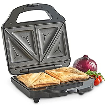 VonShef Sandwich Toaster Toastie Maker with 2 Slice Easy-Clean Non-Stick Plates - 700W - Stainless Steel