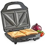 VonShef Sandwich Toaster Toastie Maker with 2 Slice Easy-Clean Non-Stick Plates - 700W