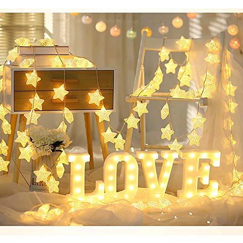 Guirnalda Luces,GZQ,1.5 m 10 led Cadena de Luces del Estrella plastico,Iluminación Alambre de Impermeable para Decoración de Navidad, Patio, Fiestas, Boda, Jardín,Color Blanco Calido