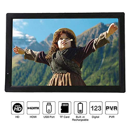 VBESTLIFE ATV/UHF/VHF Portable Digital TV,1080P Portable TV,14 Zoll Fernseher,unterstüzt MKV, MOV, AVI, WMV, MP4, FLV, MPEG1-4, RMVB, 1080P Video MP3