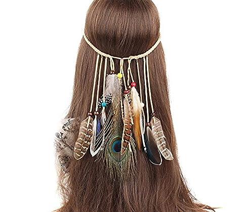 TININNA Indian Headdress Hippie Boho Gland Paon Plume Bohémien Bandeau