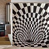 Goods & Gadgets 3D Duschvorhang mit Optik Täuschung optischer Schwarz-Weiß Illusion