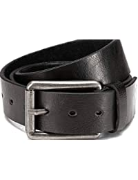 """Leather belt with PU coating, black with large rustic buckle width: 1.5"""" Buckle: 2.56 x 2.17"""""""