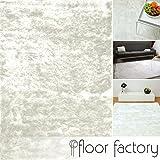 floor factory Exklusiver Hochflor Shaggy Teppich Satin weiß 80x150 cm - edler, seidig glänzender Teppich