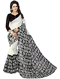 Macube Women's Bhagalpuri Silk Saree With Blouse Piece (Ms1465_Black)