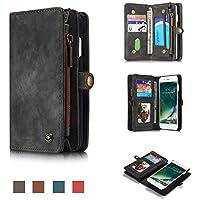 Caseme® - Custodia multifunzione per iPhone 6, a portafoglio, con sezione staccabile, in vera pelle, zip, bottoni magnetici