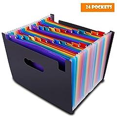 Idea Regalo - Cartella portadocumenti A4 porta Documenti Espandibile, portatile, struttura plastica 24 Tasche,FSC,Ufficio della società