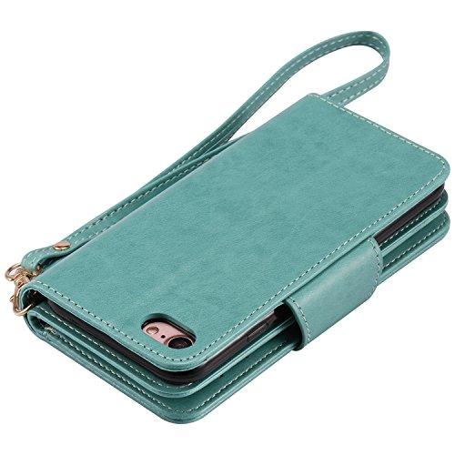 iPhone 7 Hülle grün Cozy Hut® PU Leder Wallet Case Folio Ledertasche Handyhülle Case für Apple iPhone 7 (4.7 zoll) mit Magnetverschluss [Trageschlaufe Cover] Flip Bookstyle Wallet Ständer funktion Etu grün