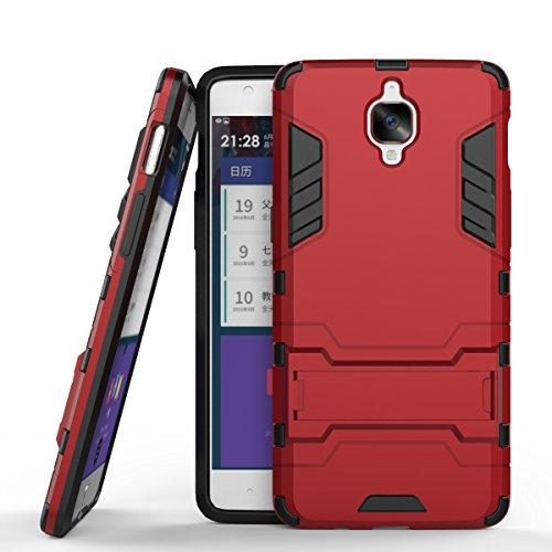 Wkae Case Cover 2 in 1 Nuovo Armour stile duro Hybrid Dual Layer Casi armatura Defender PC fissi con supporto Caso antiurto per OnePlus 3 ( Color : Gray , Size : Oneplus 3 ) Red