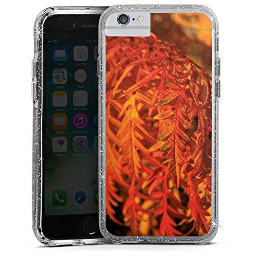 Apple iPhone X Bumper Hülle Bumper Case Glitzer Hülle Blaetter Leaves Orange Bumper Case Glitzer silber