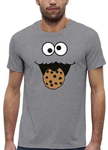Kostüm Premium Herren T-Shirt aus Bio Baumwolle mit Blue Monster Premium Marke Stanley Stella Heather Grey