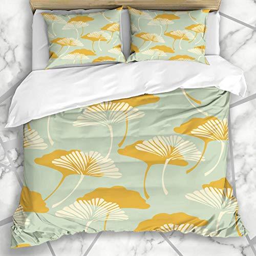 Soefipok Bettwäschesets Vintage Blau Muster Ginkgo Biloba Blätter Natur Herbst Blatt Gold Abstrakt Design Form Mikrofaser Bettwäsche mit 2 Kissenbezügen -
