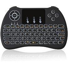 IDEAPRO H9 2.4GHz Mini Teclado Ergonómico Inalámbrico Retroiluminado Teclado con Ratón Touchpad para Smart TV, PS3, Xbox 360, Tableta, Windows OS (QWERTY)