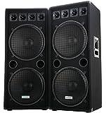 "2x McGrey DJ-2522 2-Etagen DJ PA Lautsprecher Box 2x 38cm (15"") Subwoofer 1500W (Paar, Passiv, 2-Wege System, Holzgehäuse)"