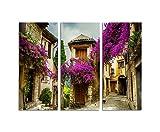130x90cm – KUNSTDRUCK wunderschöne alte Stadt Provence 3teiliges Wandbild auf Leinwand und Keilrahmen - Fotobild Kunstdruck Artprint