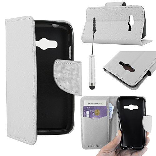 ebestStar - Compatibile Cover Samsung Galaxy Trend 2 Lite SM-G318H, Galaxy V Plus Custodia Portafoglio Pelle PU Protezione Libro Flip + Mini Penna, Bianco [Apparecchio: 121.4 x 62.9 x 10.7mm, 4.0'']