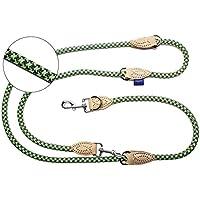 [Gesponsert]PROFTI Hundeleine aus Nylon, mit Lederelementen, 4-fach verstellbar, für große und kleine Hunde, in 2,3 Meter Länge (Grün/Grau)