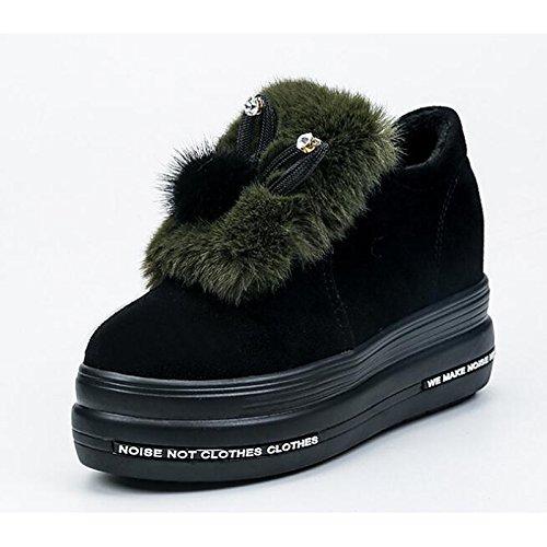HSXZ Scarpe da donna in pelle Nubuck molla Comfort caduta neve Stivali Stivali Liane Babbucce/stivaletti di abbigliamento casual verde grigio nero Gray