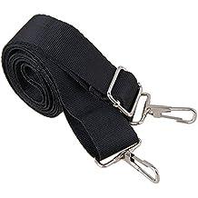 BQLZR - correa para bolso de mano de 150x 3.2cm, negro, ajustable, poliéster, para llevar en bandolera, con doble gancho de metal de liberación rápida