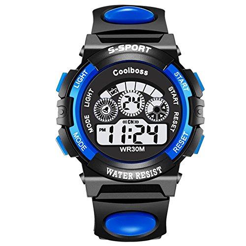 SKMEI Kinder Sport Armbanduhr Resin Jungen LED Digital und Analog Quarz Kalender Alarm Chronograph 5ATM Wasserdicht Kinderuhren