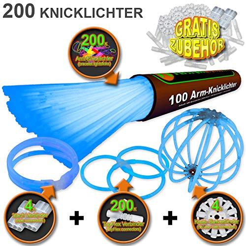 200 Knicklichter BLAU   inkl. 200x TopFlex   4x Dreifach   4x Ball Verbinder   Premiumqualität