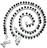 Taj Jewels Drop Black Crystal Anklet for...