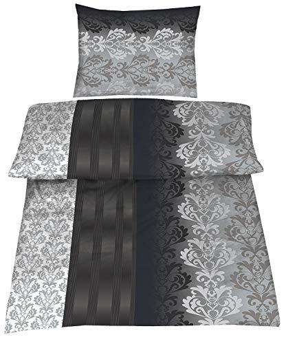 Baumwolle Biber Bettwäsche 140x200 cm 70x90 cm Ruben anthrazit, grau, Silber Österreichische Größe