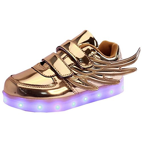 Fortuning's JDS Enfants unisexe en cuir verni Aile coiffer clignotant Sneakers Velcro USB chargeant filature chaussures LED Chaussures lumineuses Or