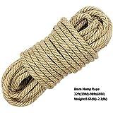 100% natürliche Hanfschnur Seile - LUOOV® 8mm Dicke und starke Jute Seil Schärpe, Camping Seil, Garten, Bootfahren, Tauziehen, Haustiere, Kletterseil, Mehrzweck Utility Sisal Twine Seil, 10m (32ft) -40m (128ft) ( 10m (32ft)) (10m)