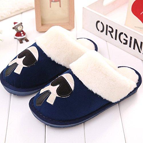DogHaccd pantofole,Autunno Inverno paio di pantofole di cotone, in pacchetto in camera per rimanere nel caldo inverno spesse pantofole di peluche di uomini e donne. Blu zaffiro4
