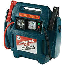 Arrancador de emergencia y compresor de aire Silverline 234578 (12 Ah)