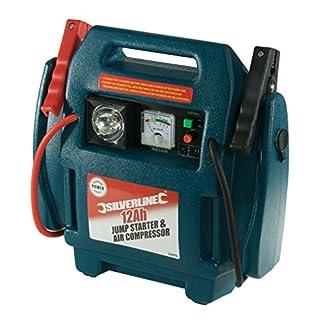 Silverline 234578 – Arrancador de emergencia y compresor de aire (12 Ah)