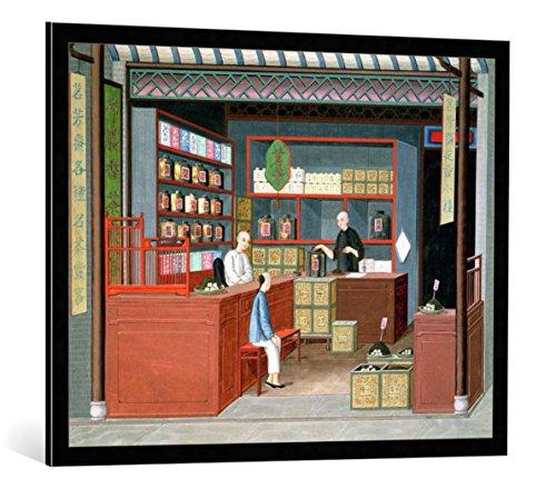 kunst für alle Quadro con Cornice: Chinesische Malerei Ming-Tang Tea Store  Dealing Fragrant Tenderleaf Tea - Stampa Artistica Decorativa, Cornice di